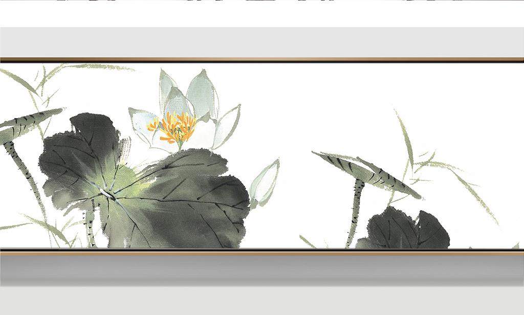 简水墨荷花床头横幅家居装饰画图片