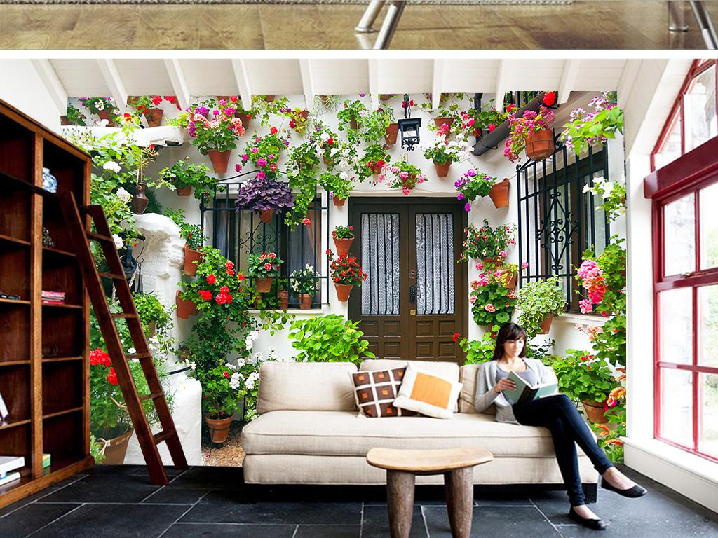 私家小花园背景墙