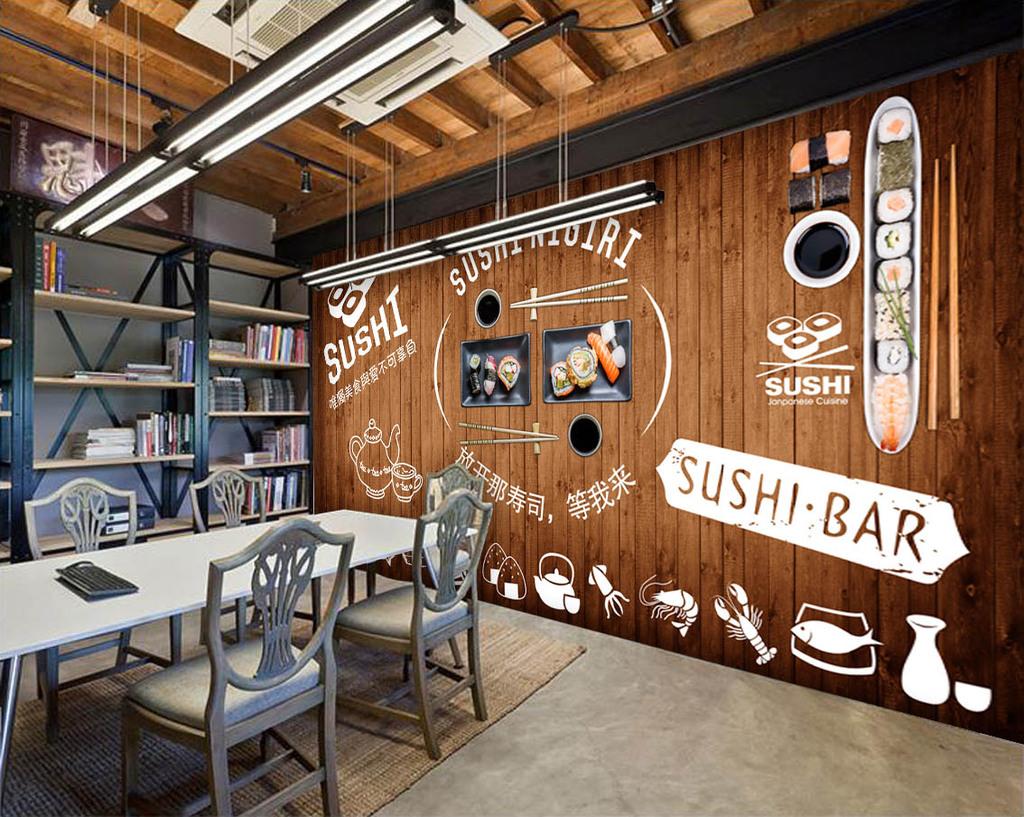 木板墙壁怀旧复古墙壁咖啡店快餐店寿司店日本日本料理美食餐厅茶壶