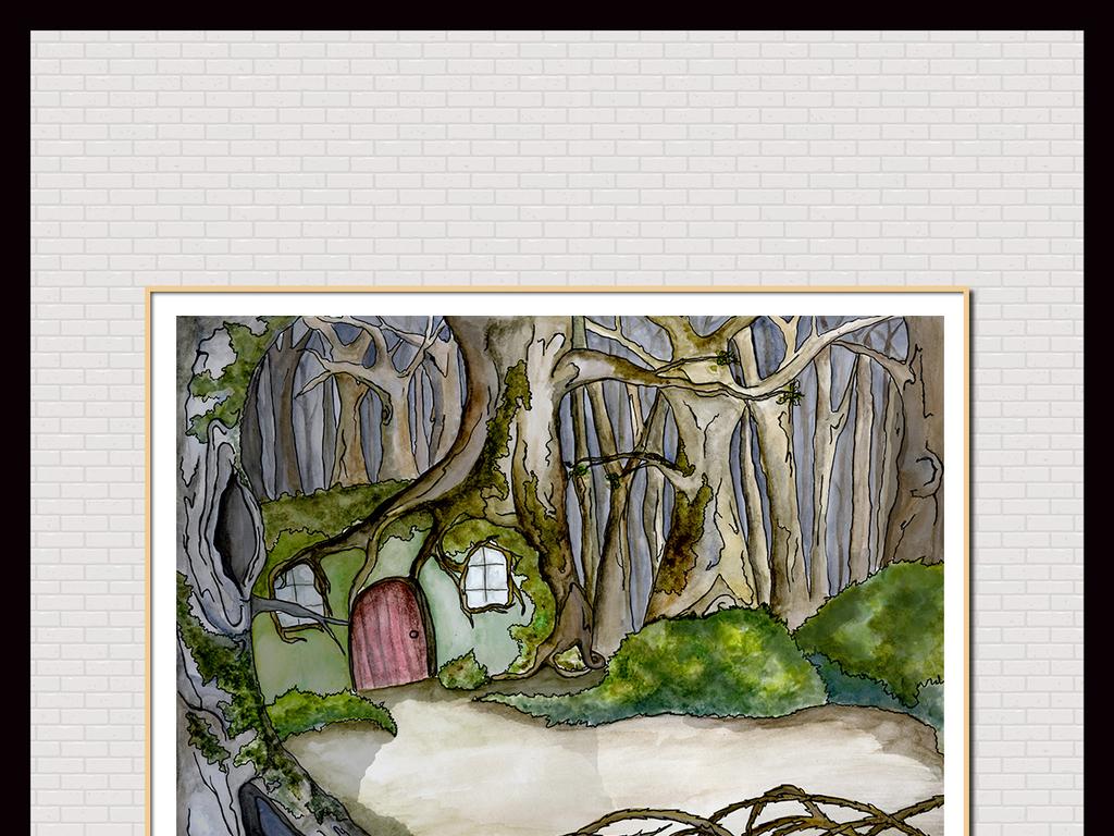 手绘树屋童话风景