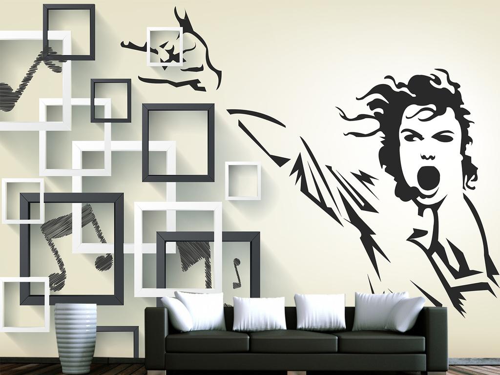 手绘简约迈克杰克孙英伦方框电视背景墙