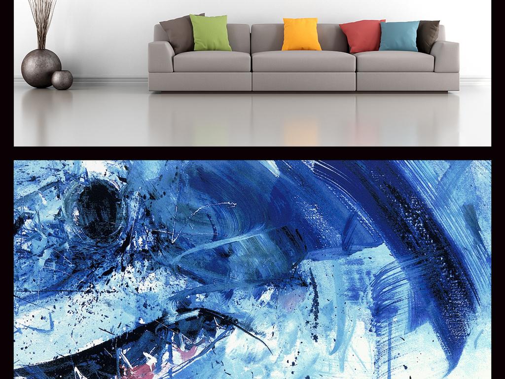 手绘水彩鲨鱼背景墙