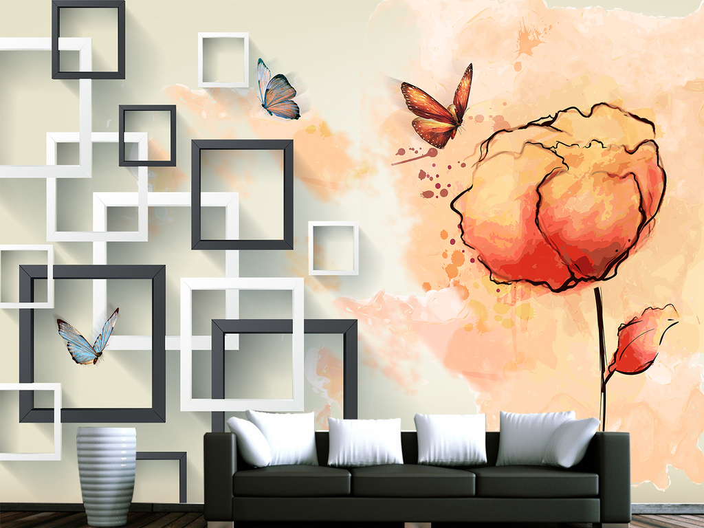 创意简约欧式手绘玫瑰花花纹电视背景墙