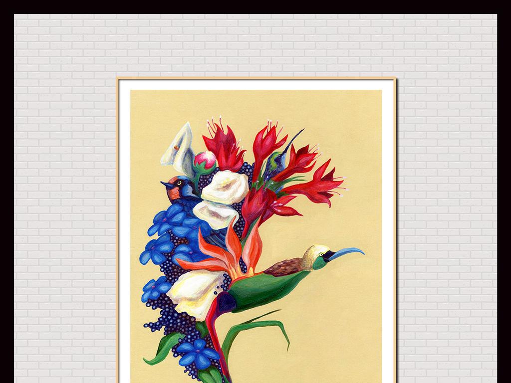 手绘彩色鹦鹉花卉