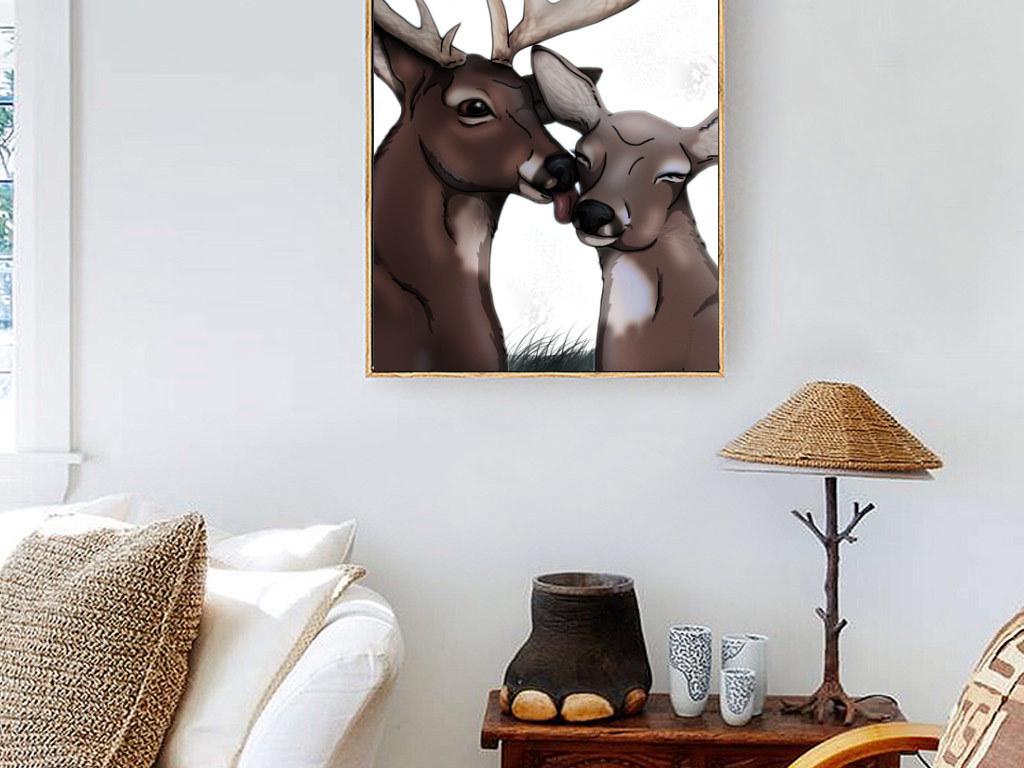式创意手绘麋鹿无框画
