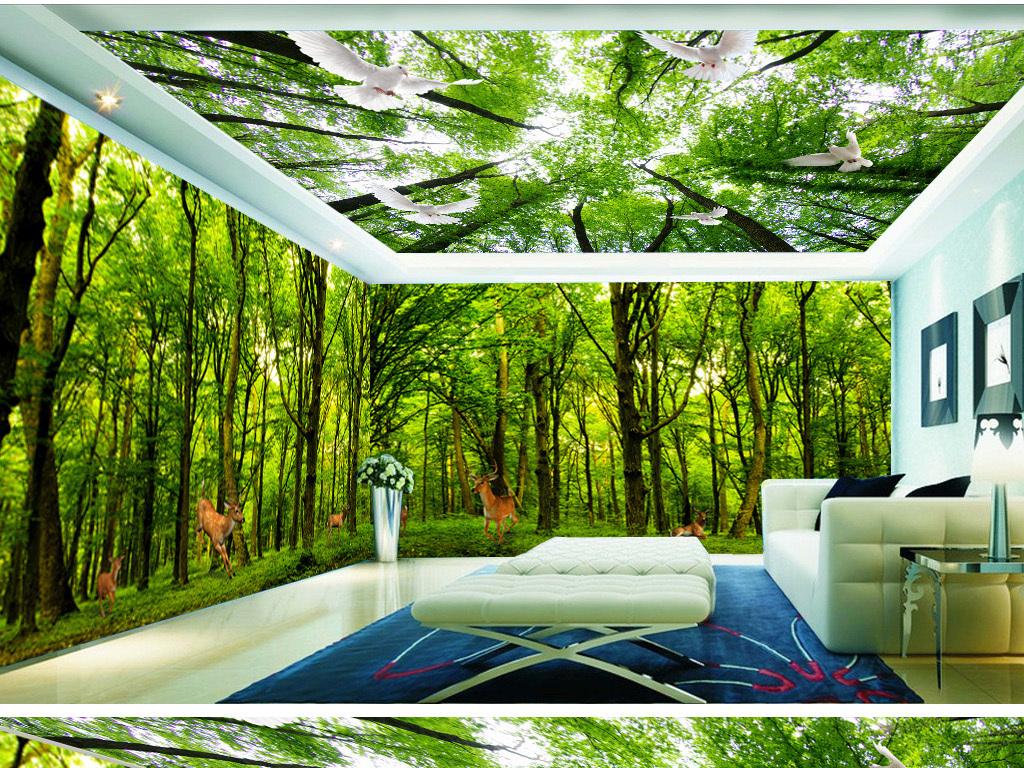 手绘3d树林