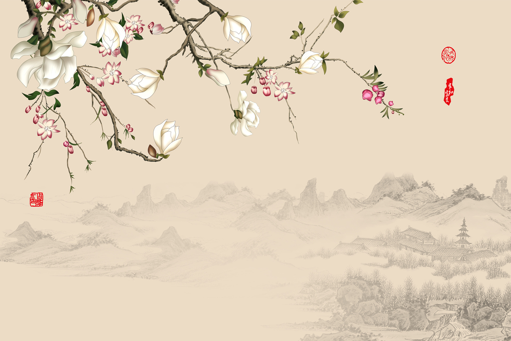 中式国画手绘雅舍兰香背景墙