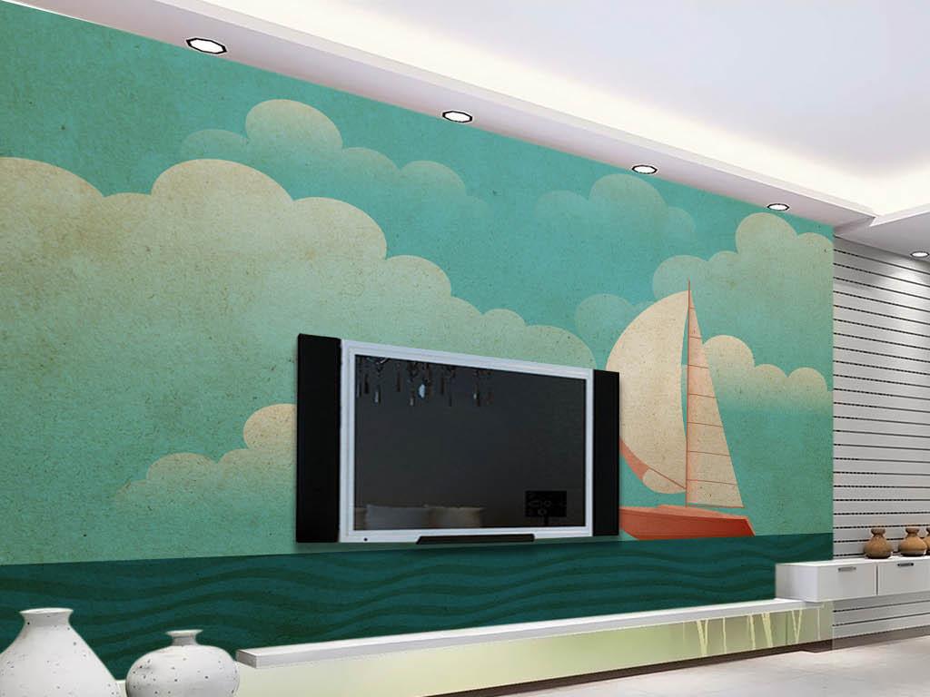 小清新现代简约手绘大海小船电视背景墙