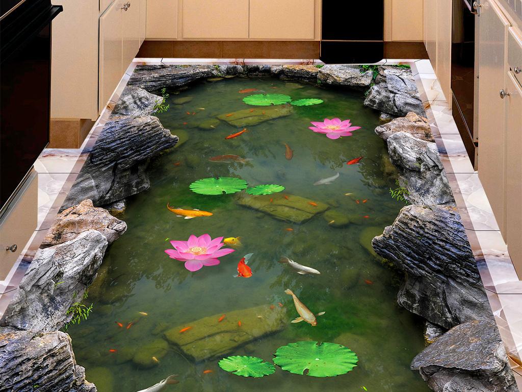 荷塘鲤鱼石头3d立体画地画地板