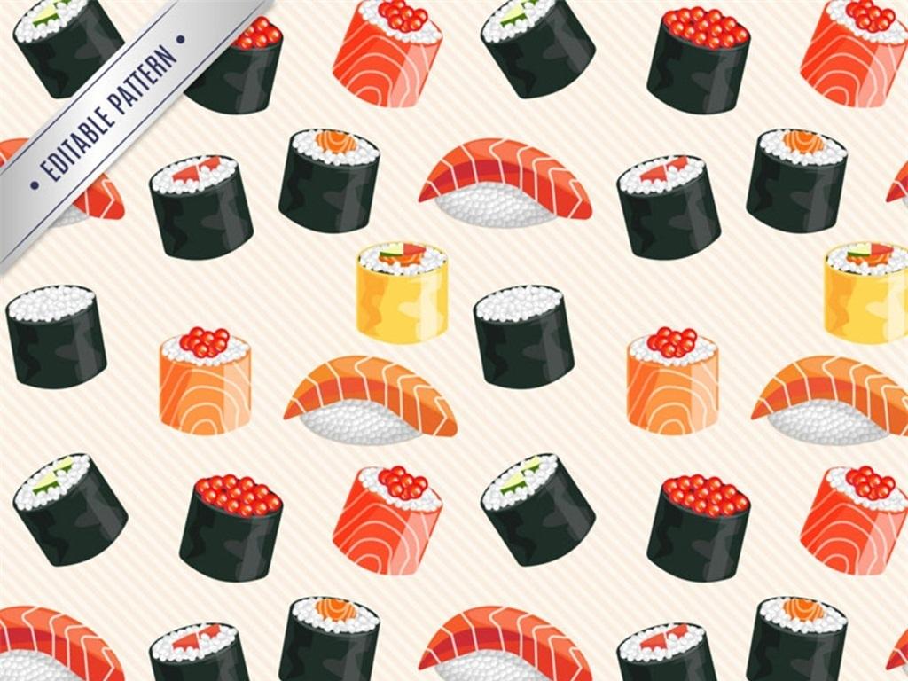设计寿司贴纸寿司卡通插画寿司彩绘便利贴手绘餐饮店寿司图标设计素材