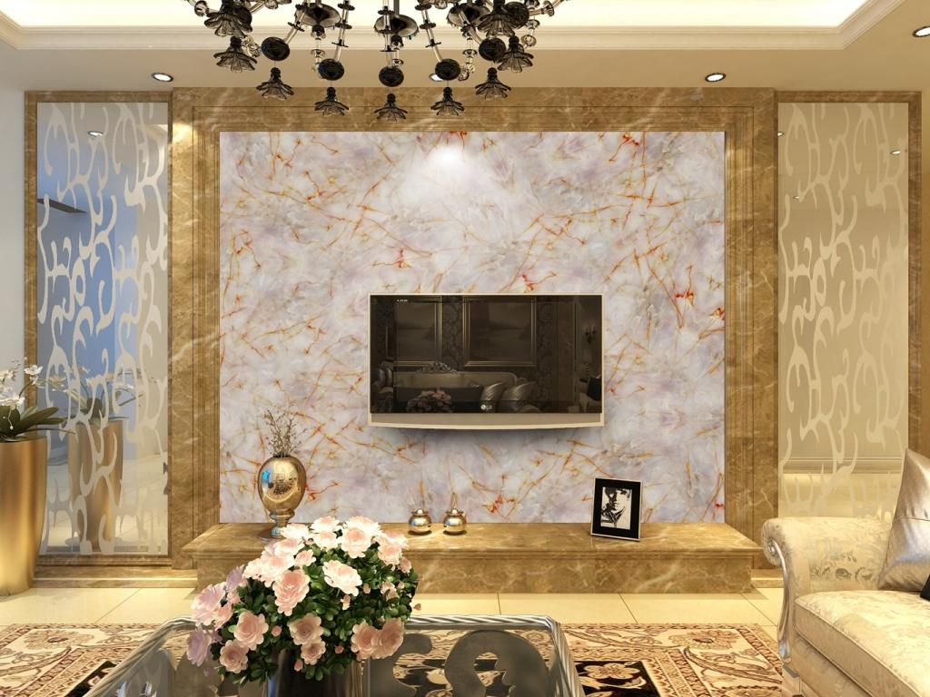 欧式大理石纹理电视背景墙图片