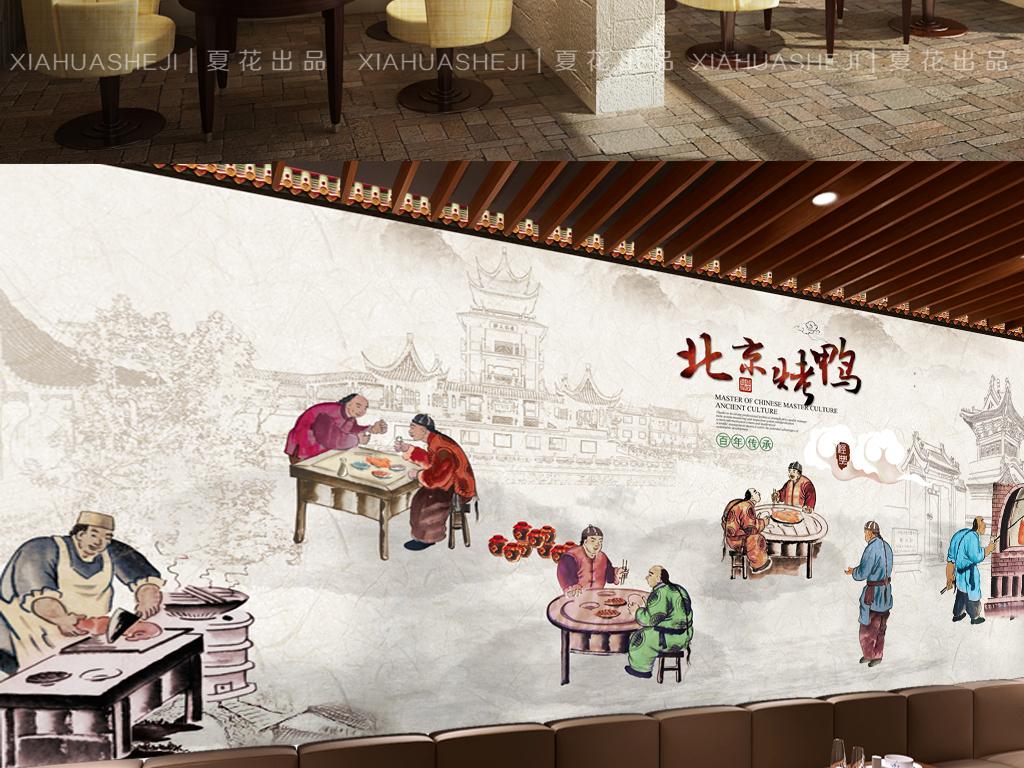 手绘古代人物北京烤鸭美食文化墙餐厅背景墙