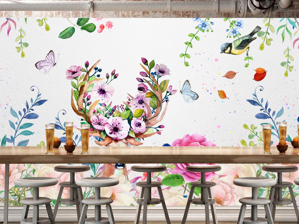 手绘水彩梦幻麋鹿背景图(图片编号:15104342)_田园墙