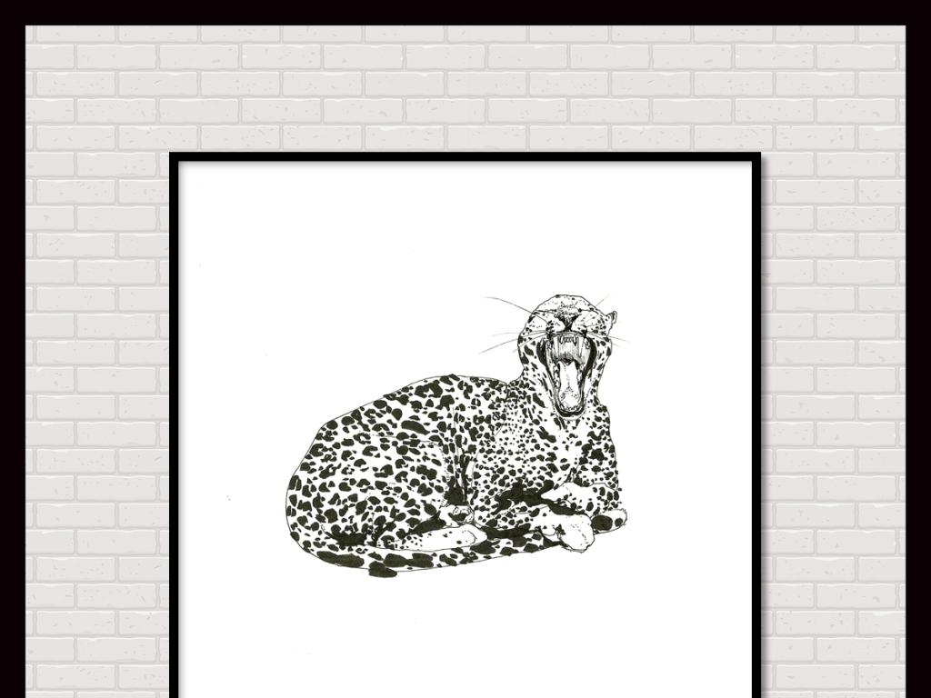 手绘黑白素描豹子插画