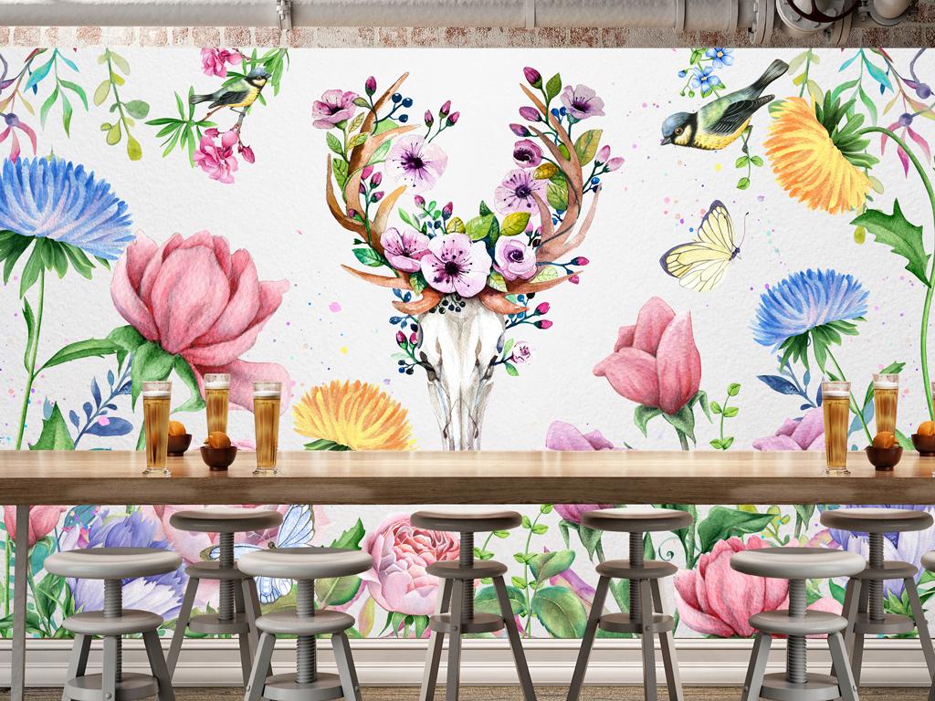 美式复古森系田园麋鹿手绘花卉背景墙