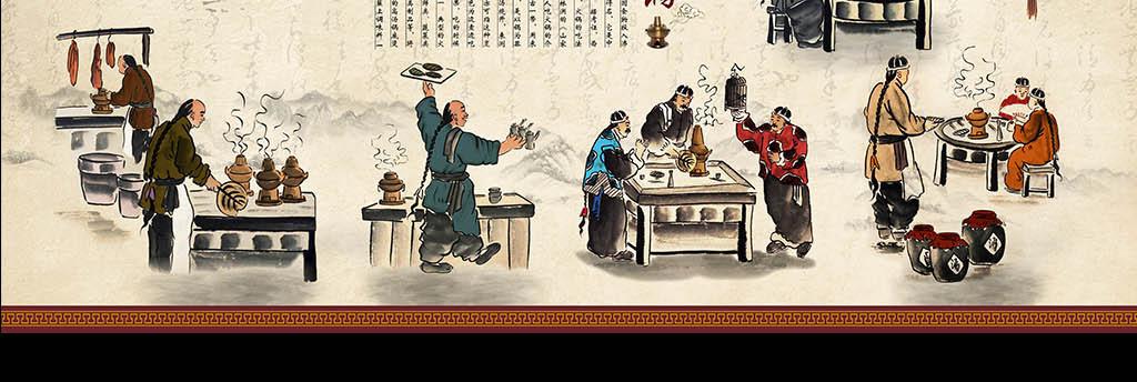大厅形象墙背景墙壁画手绘火锅店涮羊肉风情羊肉馆民俗画北京老