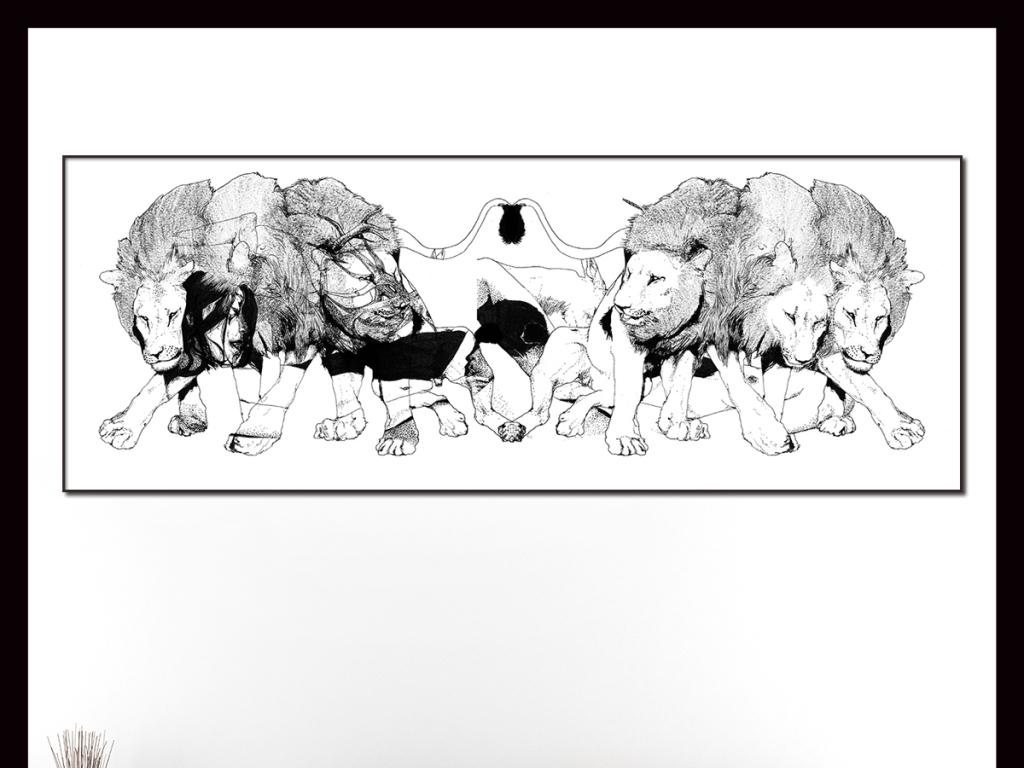 手绘黑白雄狮图腾插画