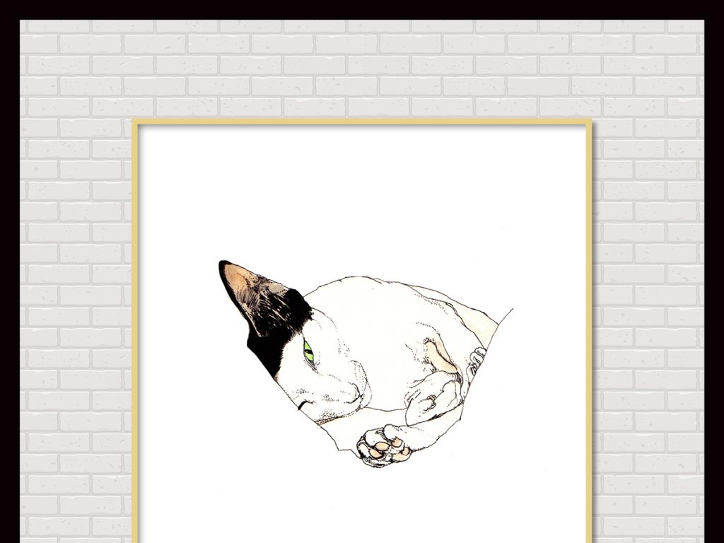 简约手绘水彩马克笔萌宠猫咪