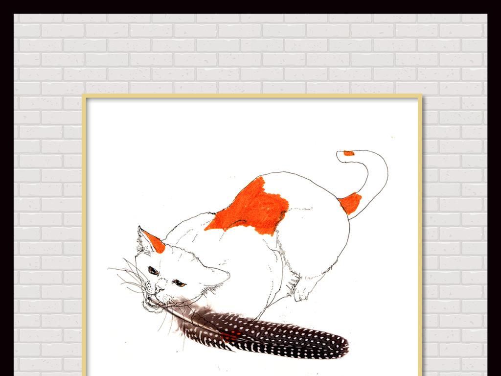 背景墙|装饰画 无框画 动物图案无框画 > 简约手绘水彩马克笔萌宠猫咪