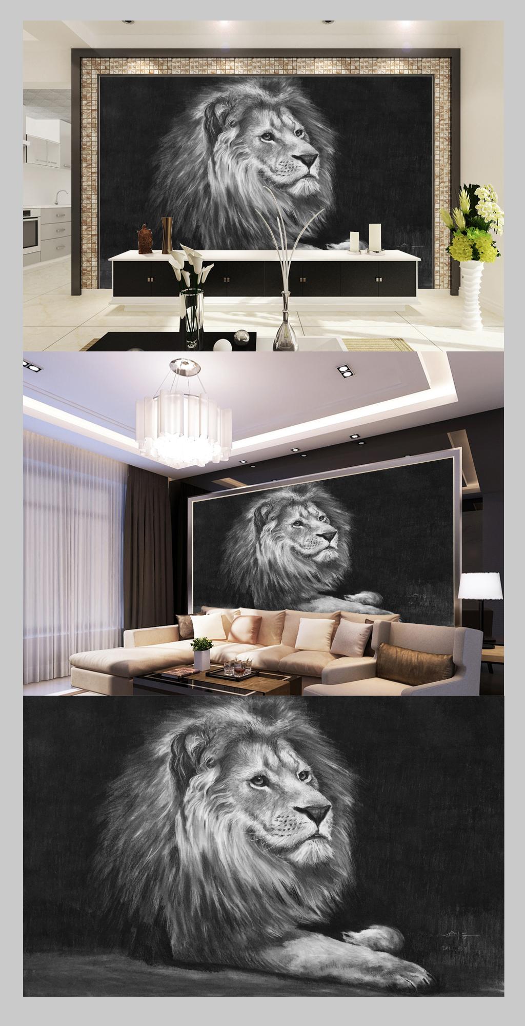 黑白手绘素描雄狮电视背景