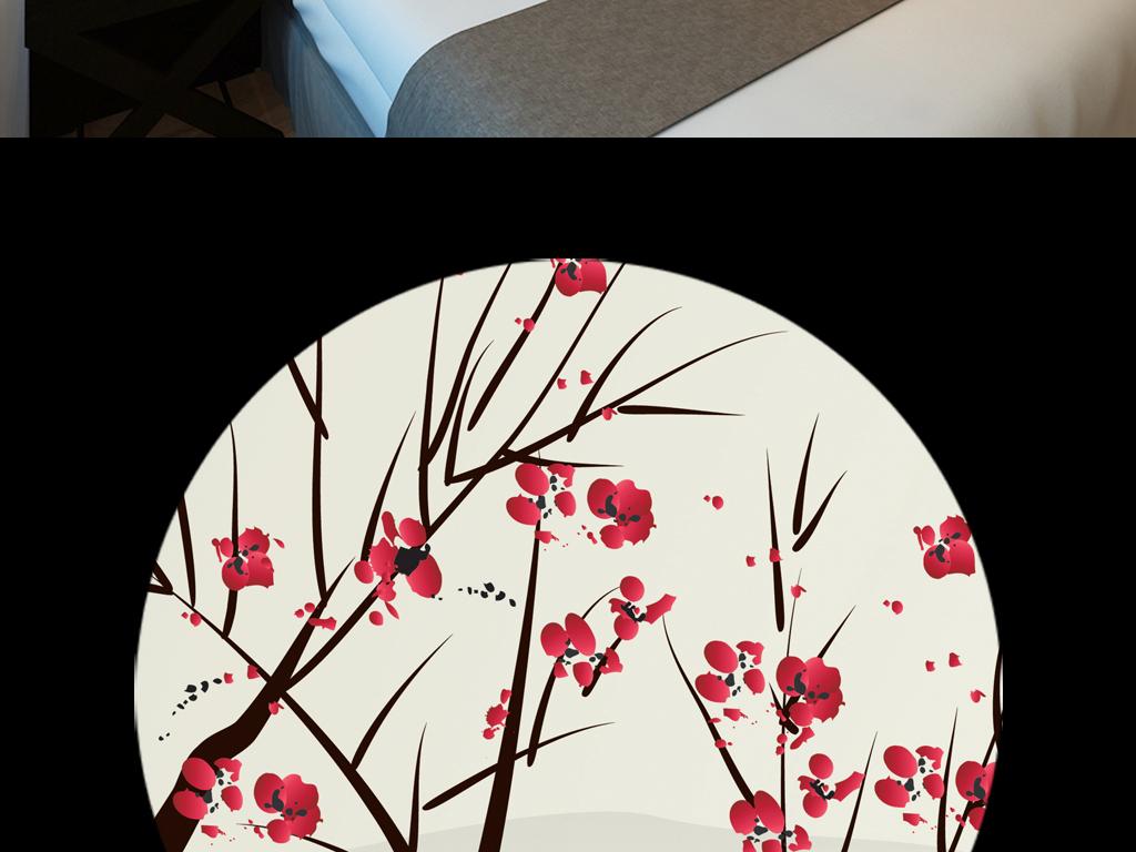 手绘现代意境唯美大气日本料理山峦大雁春天纯色工装配画软装红梅腊梅