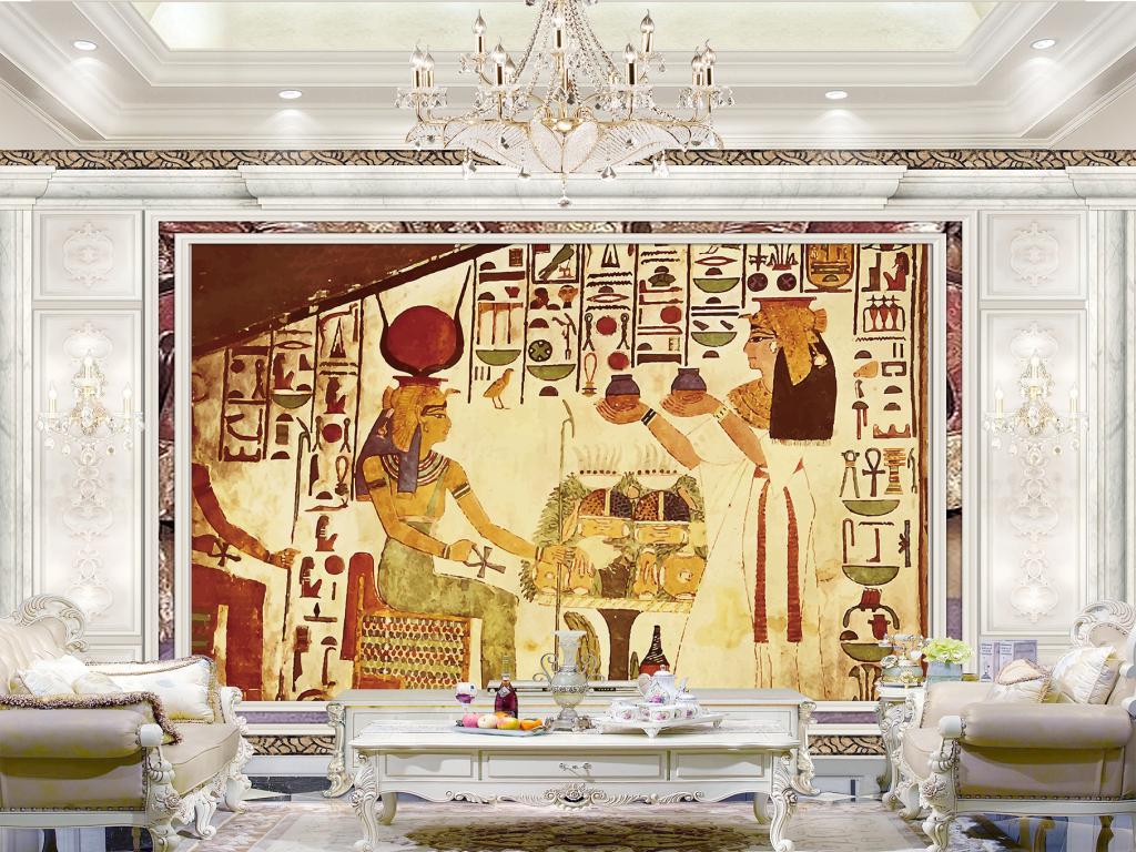 古埃及法老壁画金字塔图片