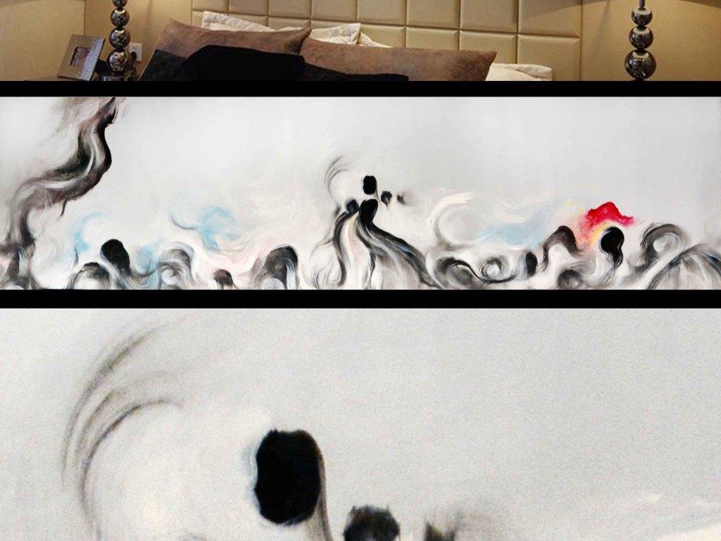 中式长条水墨画-水墨抽象床头画