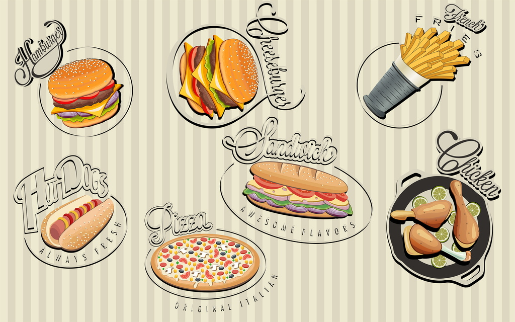 psd)手绘简约美食主题餐厅背景墙壁画餐饮