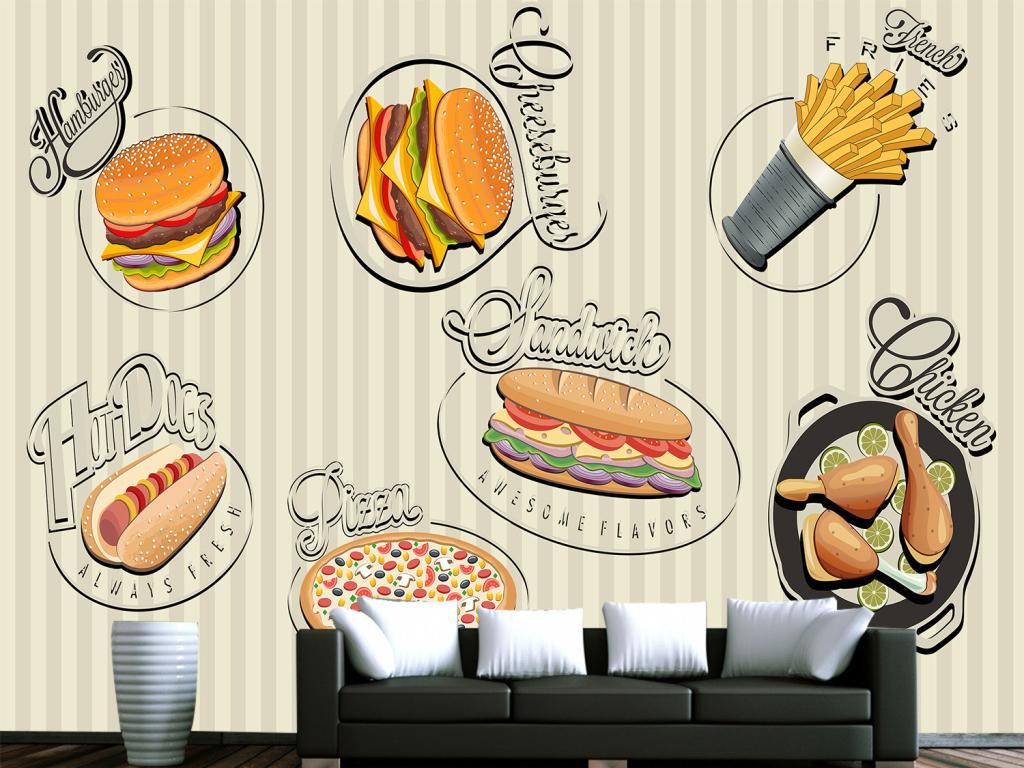 手绘时尚简约美食主题餐厅背景墙壁画