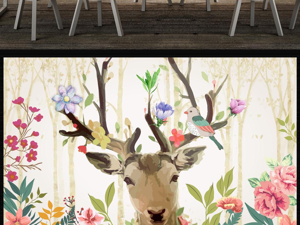 背景墙|装饰画 电视背景墙 田园背景墙 > 手绘水彩花鸟梦幻麋鹿酒店
