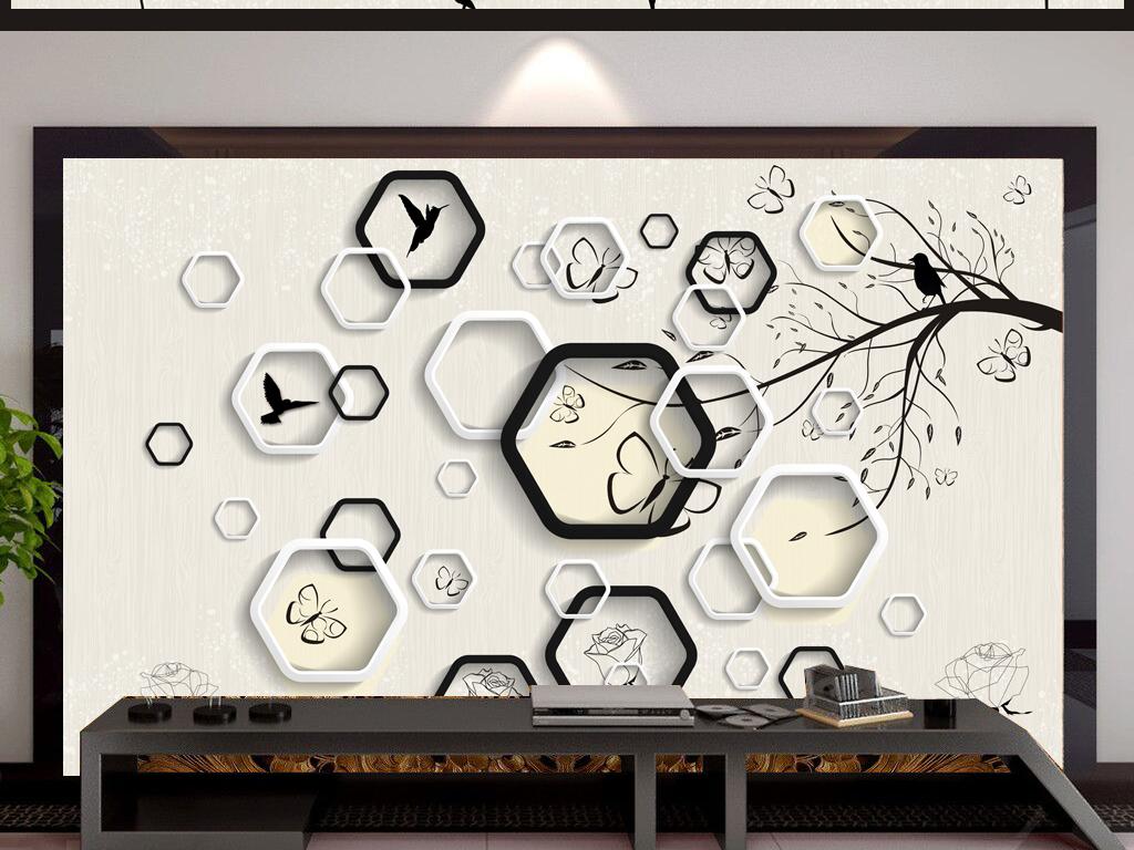 3d立体六边形手绘黑白剪影花鸟树背景墙