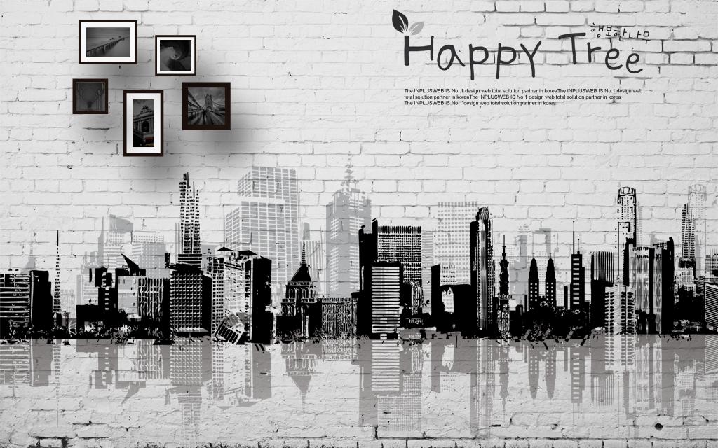 城市剪影素描无框画白色墙砖墙建筑黑白背景