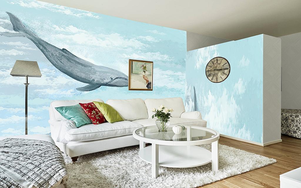 设计师昌邑手绘电视背景墙装饰画