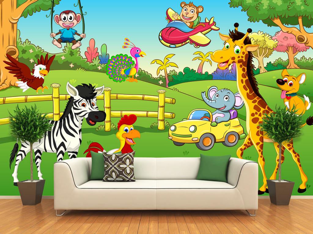 儿童房手绘卡通动物背景墙