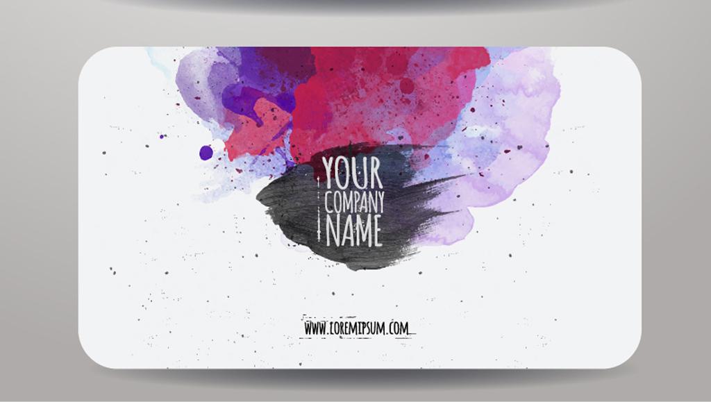 创意水彩艺术名片模板设计图片