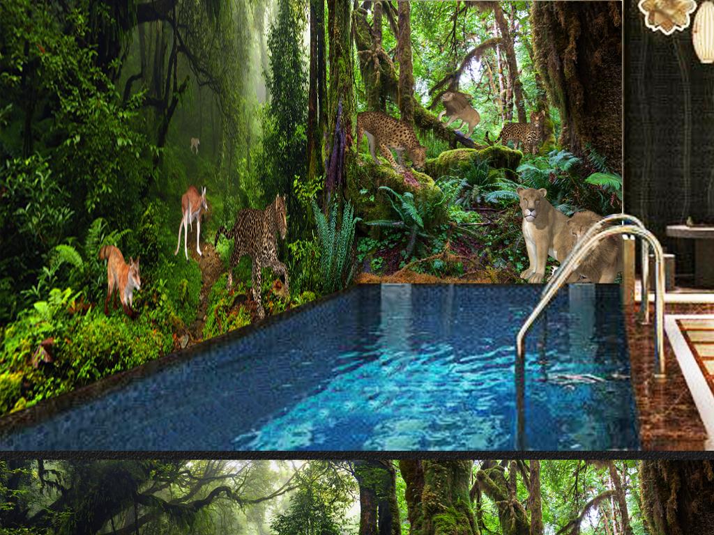 流行神秘原始森林动物3D立体主题空间背景墙素材下载