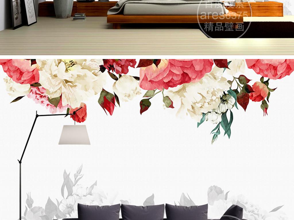 浪漫玫瑰花卉手绘油画水粉壁画背景墙