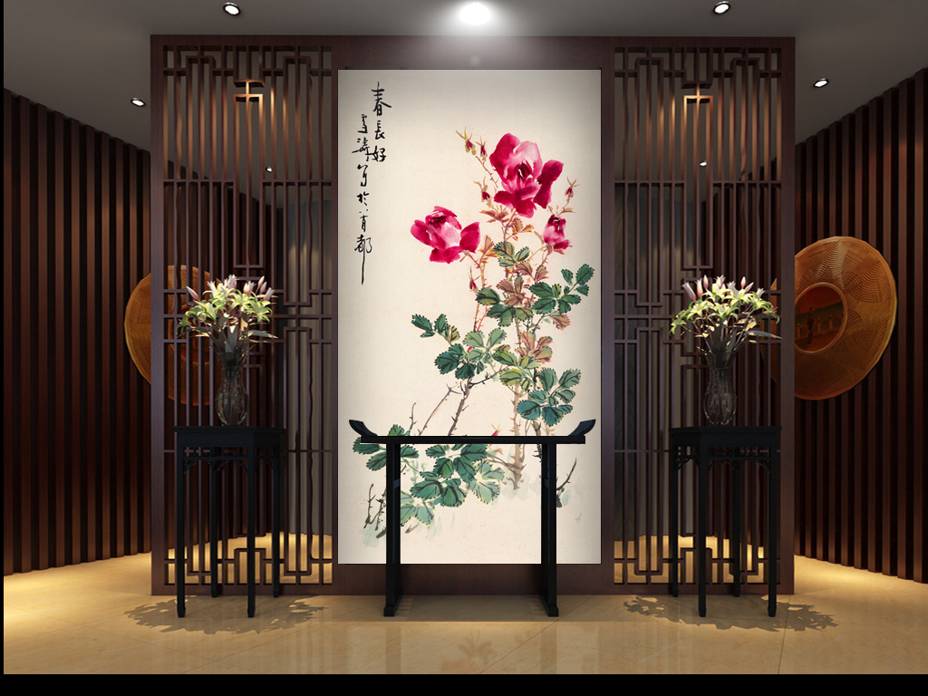 高清手绘古典新中式走廊玄关过道壁画