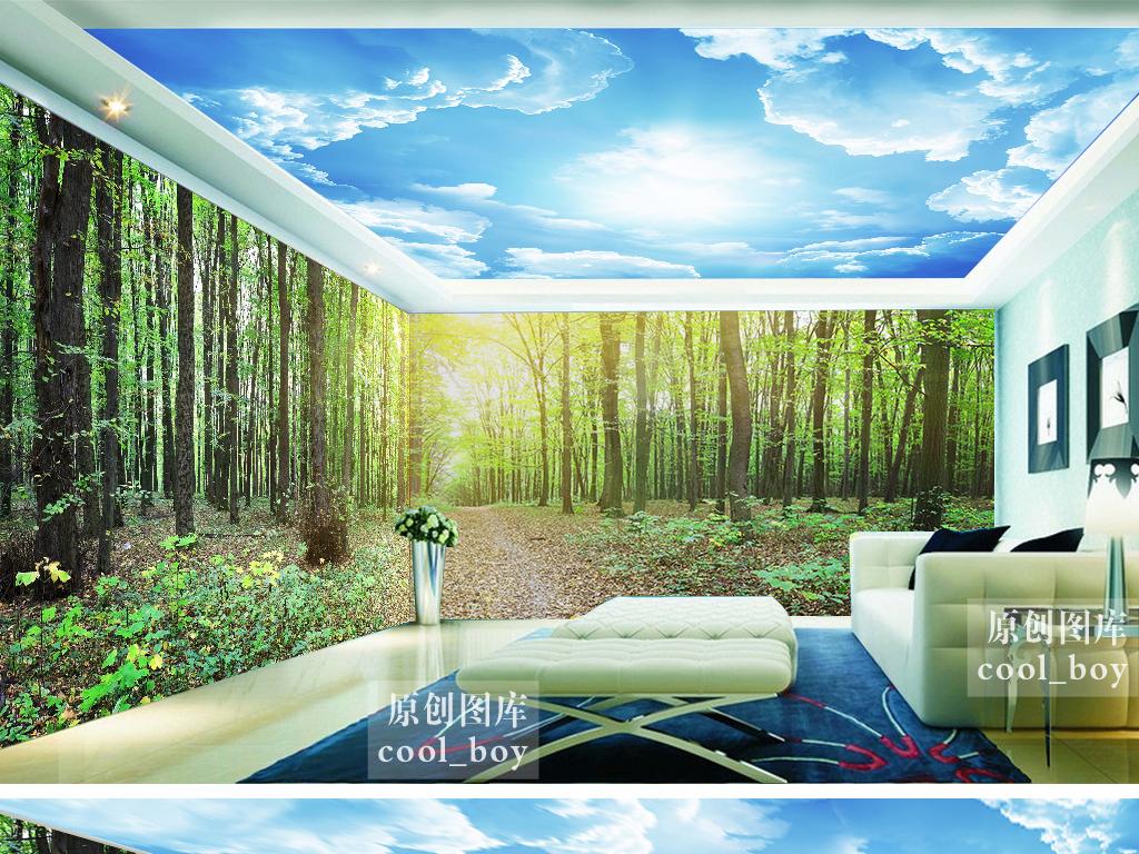 蓝天白云吊顶绿色森林树林环保主题背景墙