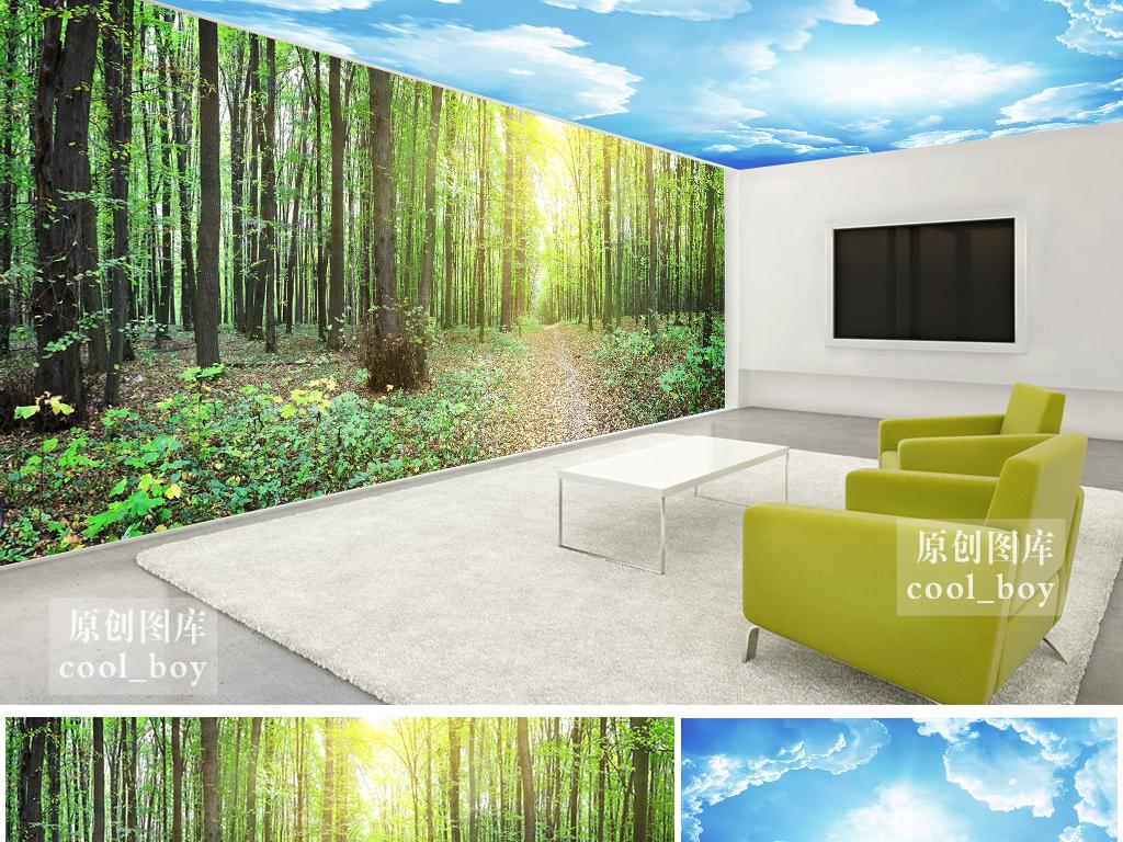 蓝天白云吊顶绿色森林树林环保主题背景墙效果图 15119505 酒店 餐饮