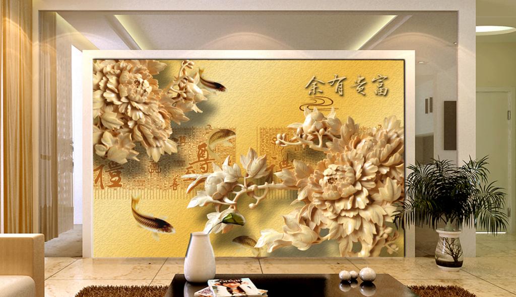 """影视墙 【本作品下载内容为:""""木雕浮雕花开富贵牡丹花电视背景墙""""模"""