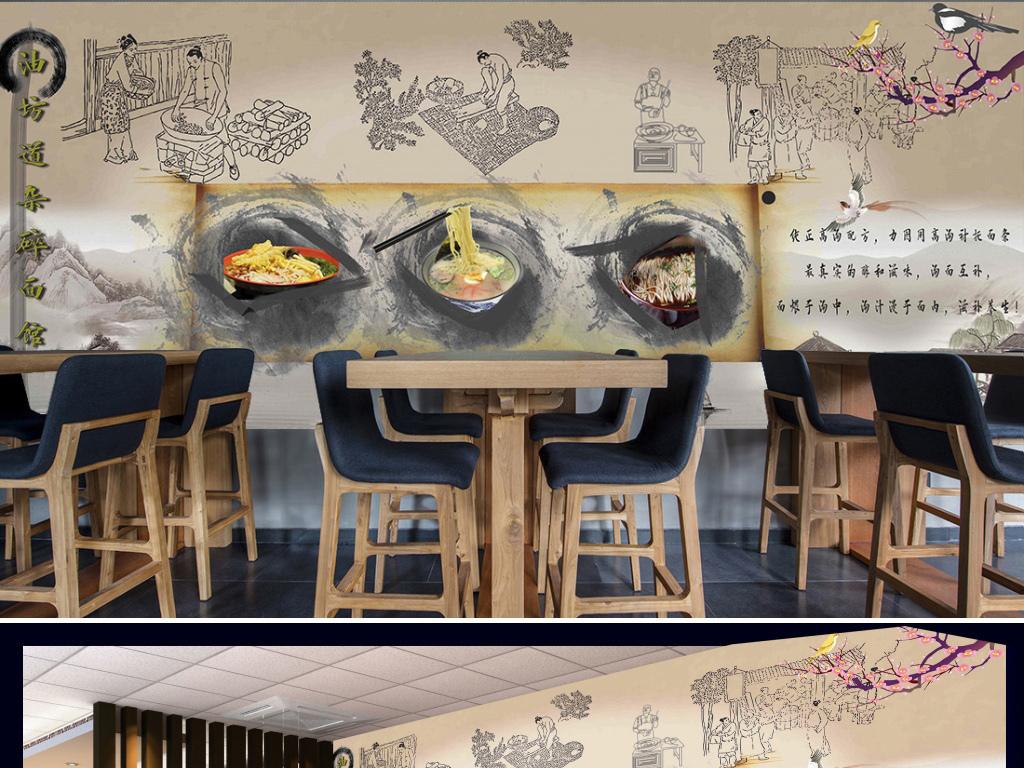 背景墙|装饰画 工装背景墙 酒店|餐饮业装饰背景墙 > 中式古典面馆图片