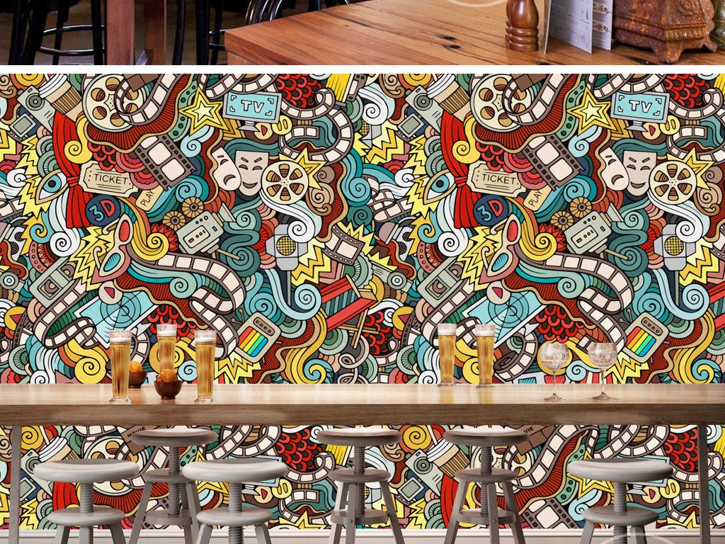 潮流手绘个性复古壁画涂鸦街舞卡通背景墙图片