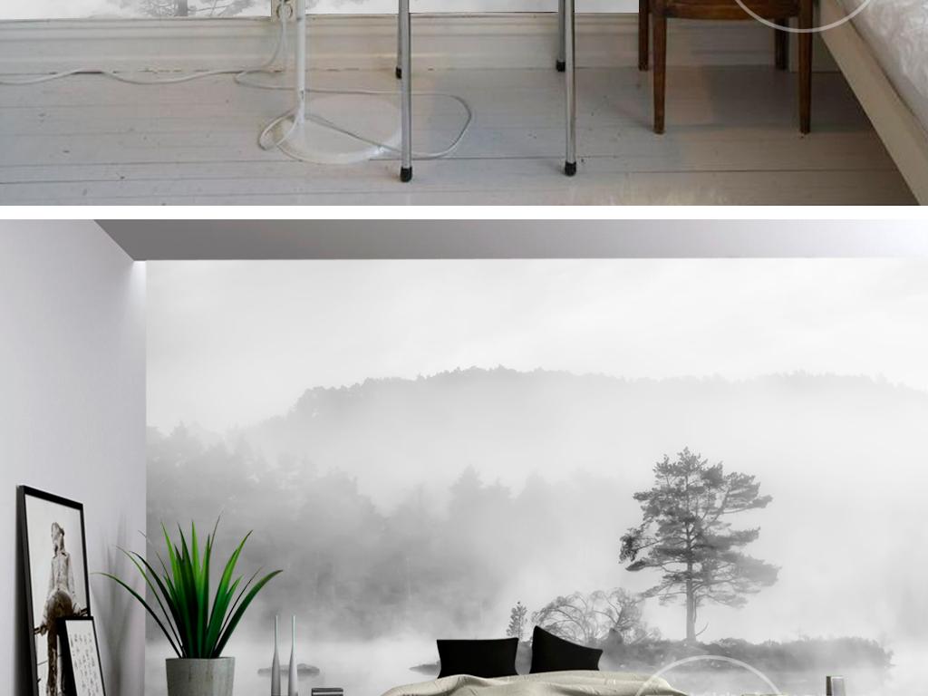 卧室立体图手绘黑白