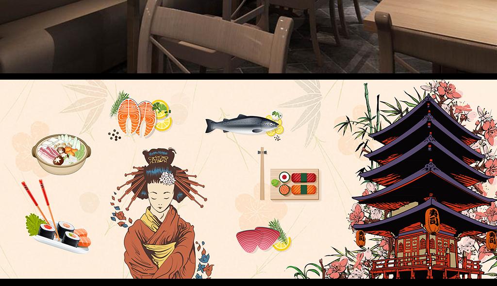 手绘卡通日本料理寿司背景墙