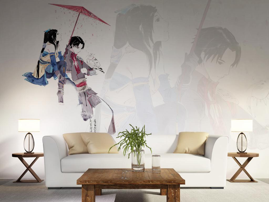 创意手绘古风动漫电视背景墙装饰画