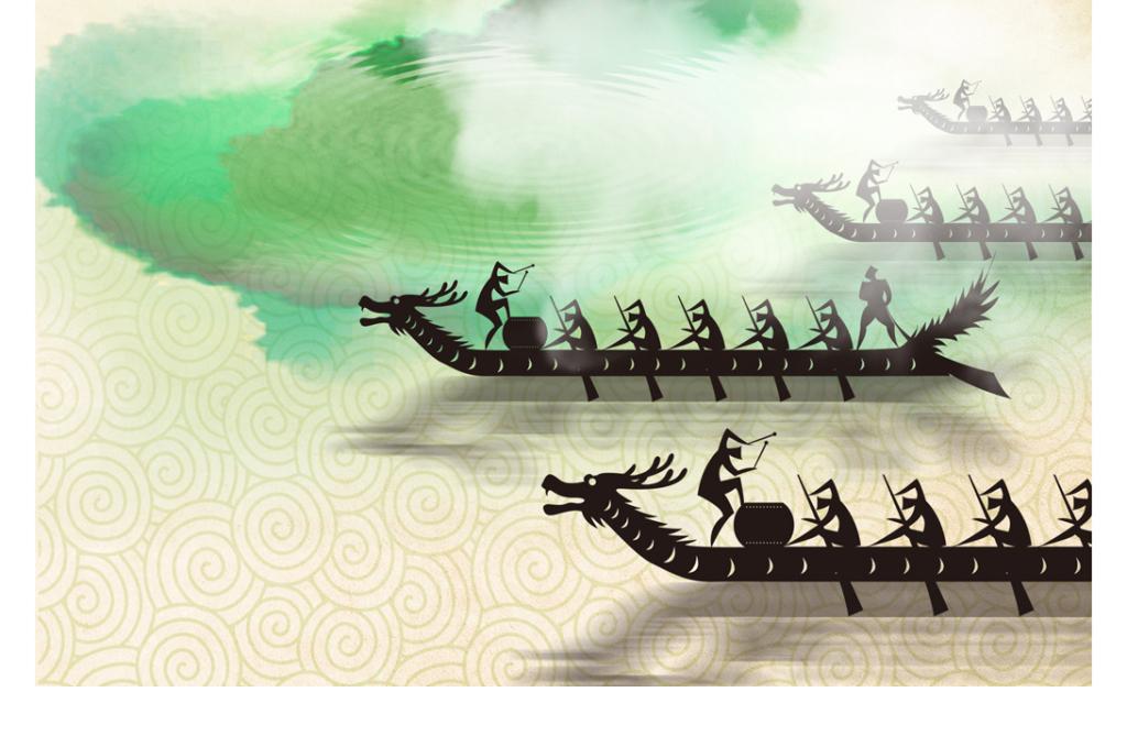 端午节赛龙舟宣传海报水墨背景psd模板