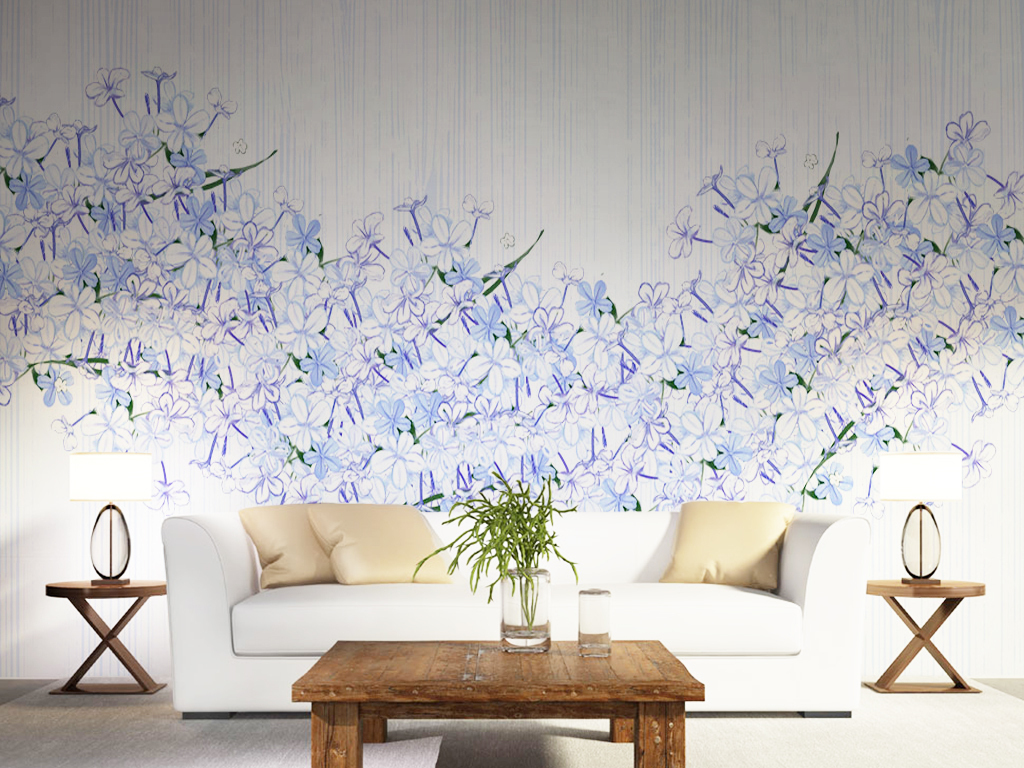 手绘北欧电视背景墙背景墙装饰画兰花