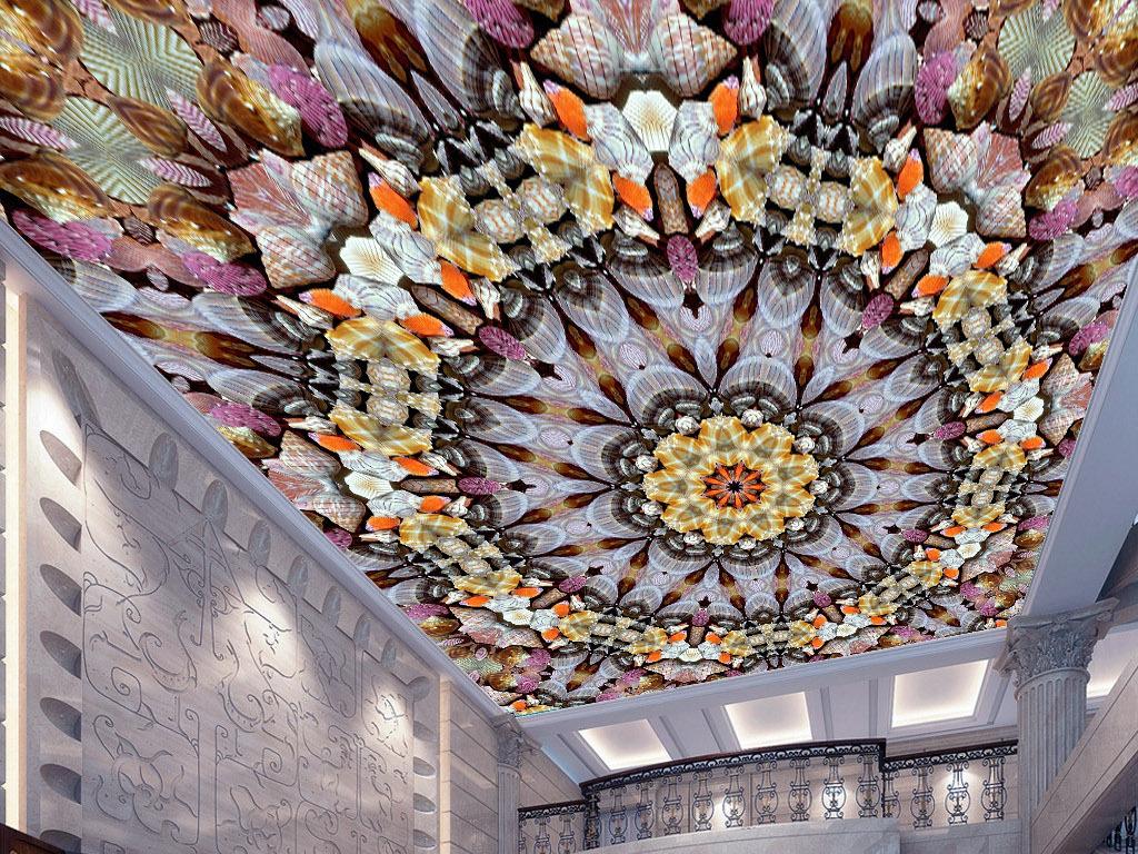 贝壳海螺曼陀罗万花筒欧式现代天花板吊顶画
