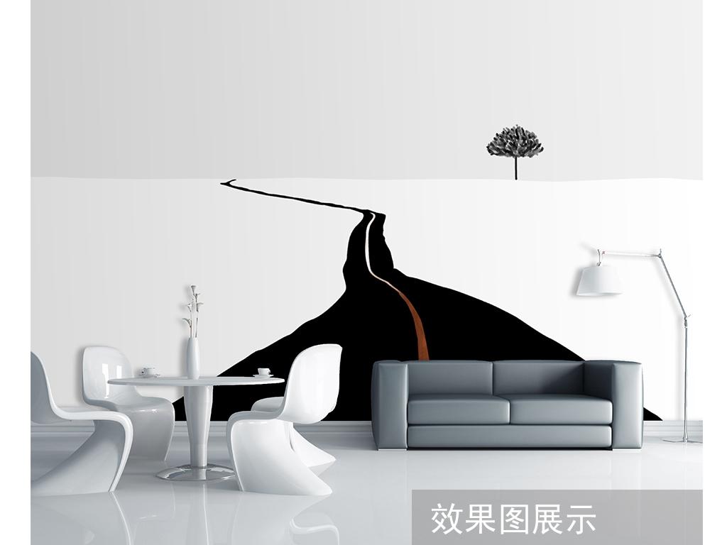 现代手绘北欧黑白极简个性背景墙装饰画